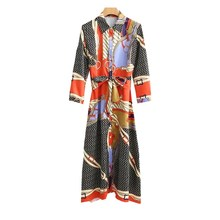 Women Chain Print Long Maxi Dress 3/4 Sleeve Turn Down Collar A-Line Midi Dress Belted Casual Dresses Robe Femme Spring Autumn long sleeved dress women 2019 spring summer new simple stripes turn down collar slim a line casual elegant dress midi s xl