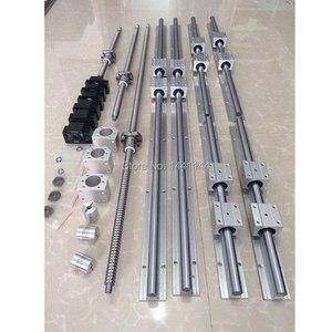 Image 1 - RU האיחוד האירופי משלוח SBR 16 ינארית מדריך Rail 6 סט SBR16  300/700/1100mm + ballscrew סט SFU1605   350/750/1150mm + BK/BF12 CNC חלקי