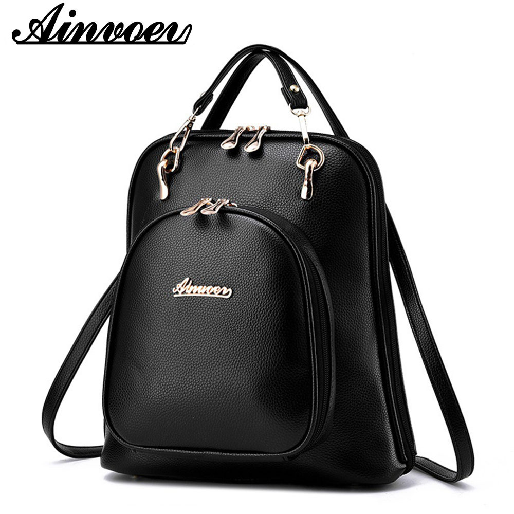 Ainvoev Women Backpack Fashion PU Leather Shoulder Bags Vintage Teenger School bags High quality Travel women bags mochila A1602 mochila women fashion high quality small travel bags lady cute black pu leather backpack with solid bag teenager cute backpack