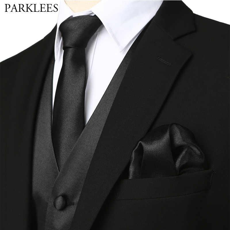 Erkek Siyah Ipek Takım Elbise Yelek Set Parti Düğün Kravat Yelek Yelek Cep Kare Kravat Papyon Takım Elbise veya Smokin Chaleco hombre