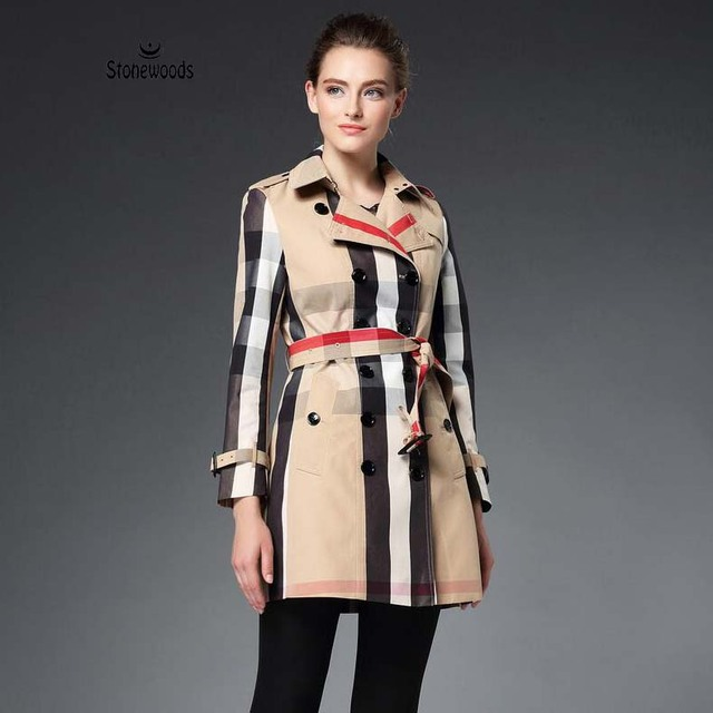 Real Photo High Quality Designer Brand Burb Women British Genuine Leather Buckle Double Breasted Womens Trench Coat Trench Coats