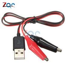 4 мм двойной крокодил тестовые зажимы зажим для USB разъем питания адаптер провода 60 см Многофункциональный