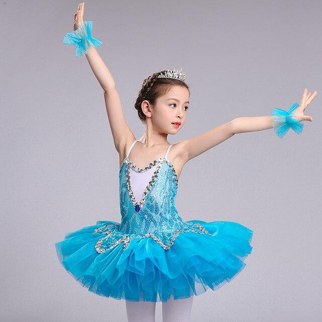 الأزرق المهنية الباليه توتو للفتيات الاطفال الترتر الباليه توتو الطفل ملابس رقص للفتيات