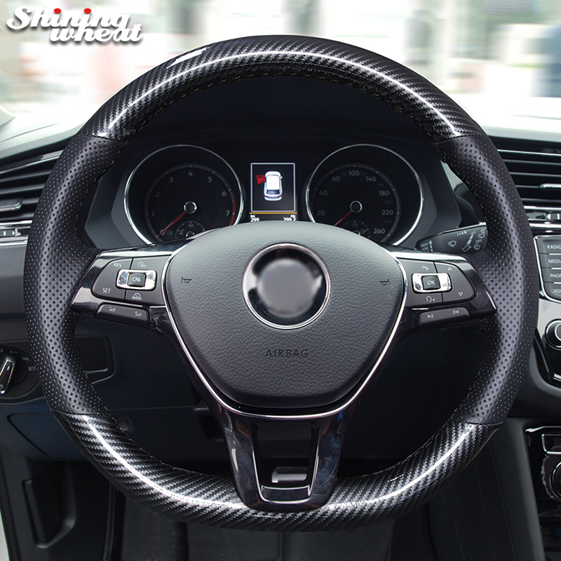 Shining wheat Black PU Carbon Fiber Leather Steering Wheel Cover for Volkswagen VW Golf 7 New