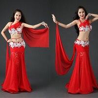 Performance Belly Dance Set 3pcs Bra+Stones Belt+Skirt For Women Stage Suit Team Fishtail Skirt White,Red Green Free Shipping
