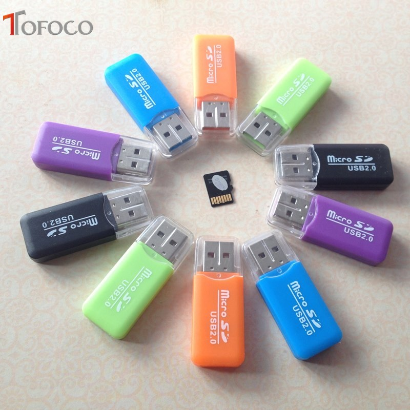 TOFOCO 20 PCS/lot High Speed 2.0 Mini Micro SD T-Flash TF M2 USB Memory Card Reader Plastic USB Card Reader