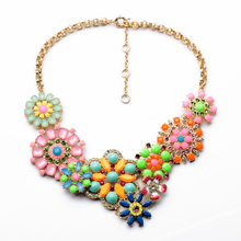 Fashion Jewelry Elegant Antique Glass Stone Flowers Pendant Necklace