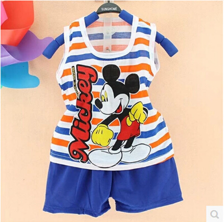 2018 Hot New Summer Children's Cotton Suit Children Vest Shorts Fashion Style Cartoon Girls Boys Sets