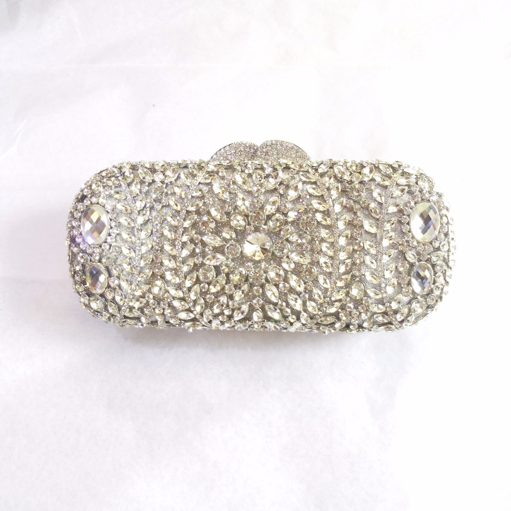 ФОТО 8278 silver crystal Lady fashion Wedding Bridal hollow Metal Evening purse clutch bag handbag case box