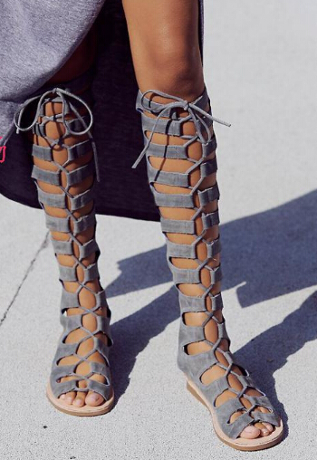 Bohemia Summer Long Sandals Knee High Brown Blue Suede Cut outs Gladiator  Sandal Boots Flat Lace Up Tie Straps Open Toe Sandals -in Women s Sandals  from ... 1744ae1f91