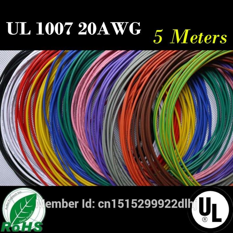 Haute Qualité 20 AWG-5M 16.4 FT Flexible Brin 10 Couleurs UL 1007 Diamètre 1.8mm Électronique Fil Conducteur À DIY