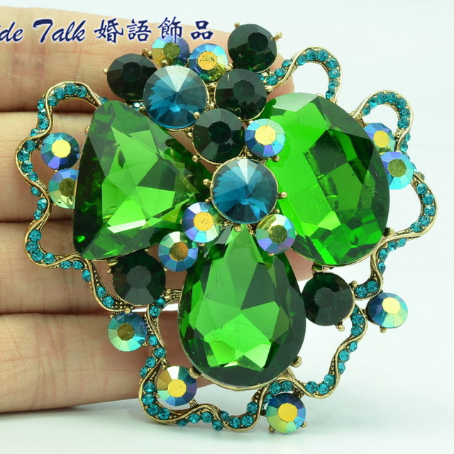 Fashion Jewelry Retro Art Flower Brooch Pins Green Rhinestone Crystal Brooches Accessories BLN6457