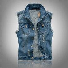 Neuen männer Denim Blue Jeans Weste Marke Männer Cowboy Zerrissene weste Vintage Sleeveless Jacke Gewaschen Jeans Loch Weste 4XL 5XL 6XL