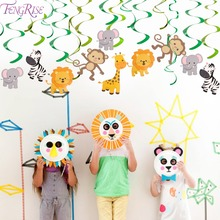 FENGRISE 30 Ceiling Hanging Swirl Baby Shower Birthday Banner Party Decoration Jungle Animal Foil Spiral Swirls Bunting Garlan