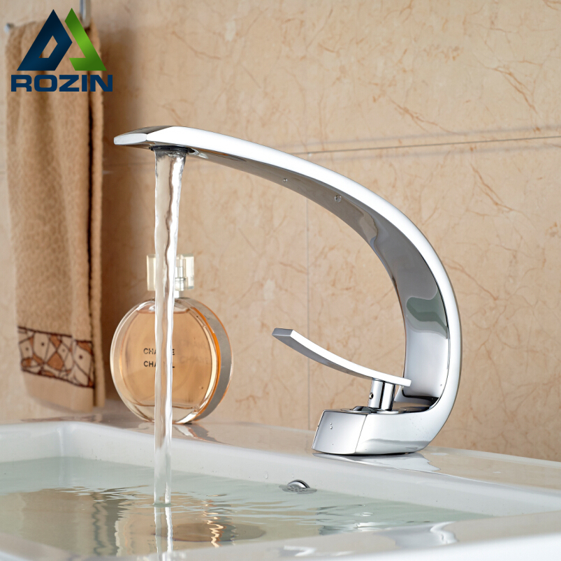 Bathroom Sink Basin Faucet Deck Mount Bright Chrome Washing Basin ...