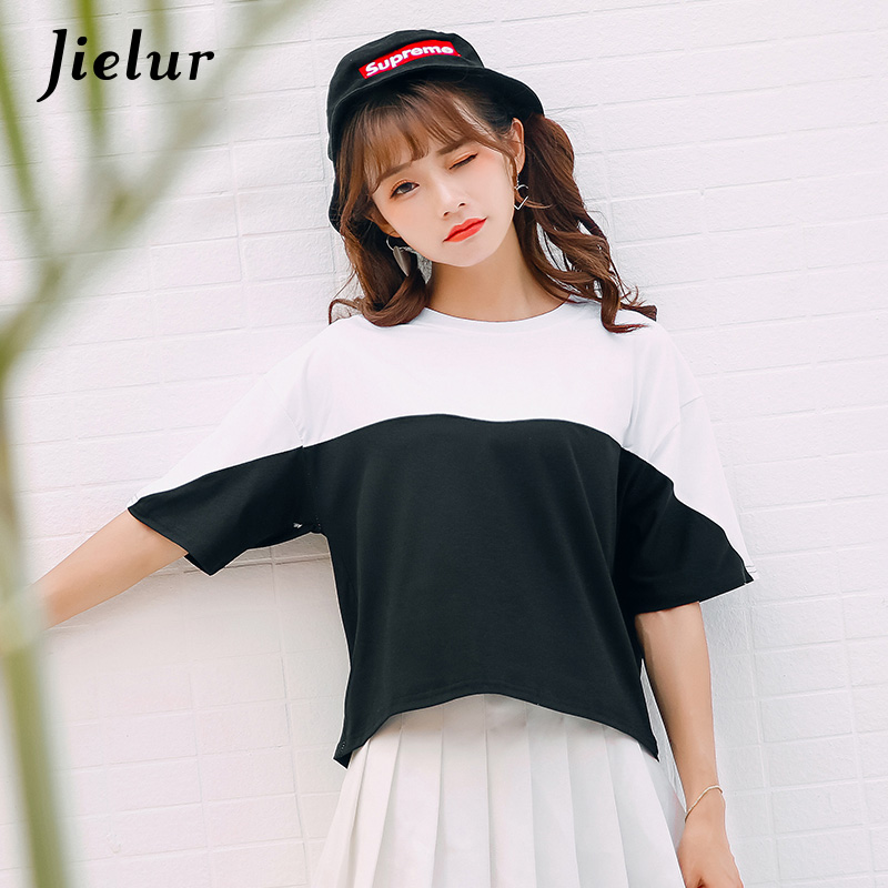 Jielur Women Harajuku Short Sleeve T-shirt Women Korean Black and White Hit Color Patchwork Tops O-neck Simple Casual T shirts