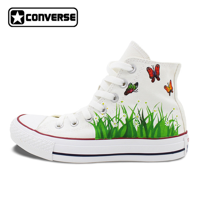 7aa9fe3413df White Converse Chuck Taylor Women Men Shoes Butterfly Flower Original  Design Hand Painted High Top Sneakers Christmas Gifts