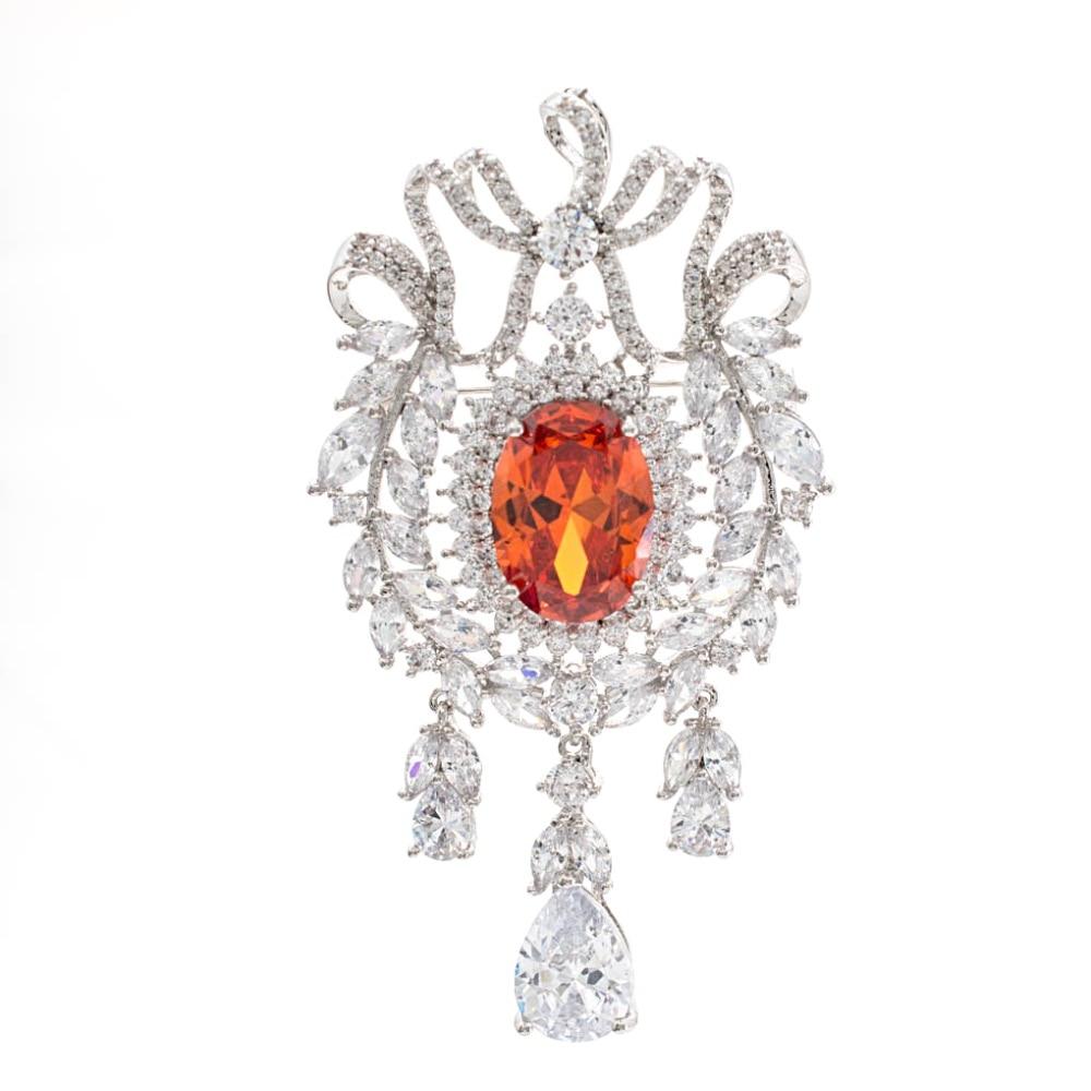 Luxury Vintage Orange Cubic Zirconia Brooch Pin High Quality Womens Jewelry Dress Accessories B0068Luxury Vintage Orange Cubic Zirconia Brooch Pin High Quality Womens Jewelry Dress Accessories B0068