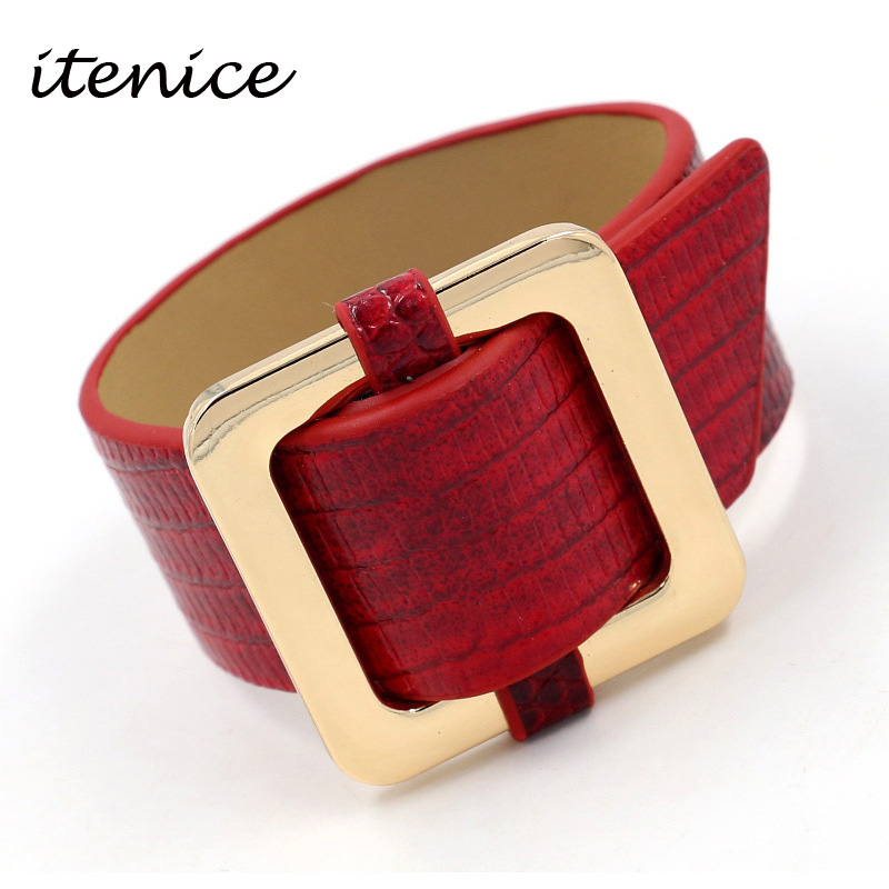 Itenice Fashion Europe Big Leather Bracelet For Women Vintage Imitation Snake Skin Wide Leather Bracelet New Year Hand Jewelry