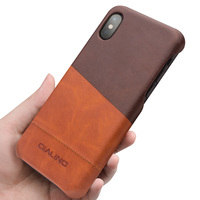 QIALINO Genuine Leather Back Case For IPhone X Fashion Luxury Ultrathin Pure Handmade Brown Phone Cover