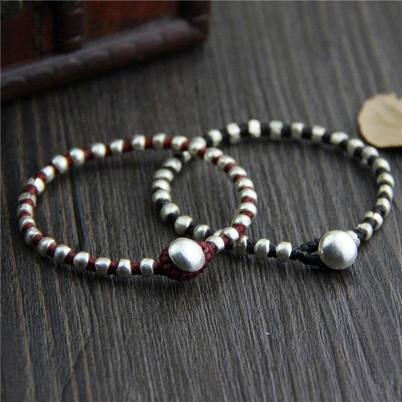 925 Sterling Silver Couple Bracelet Thai Silver Beads Hand Woven Bracelet Retro Ethnic Style Jewelry Red Black Bracelet