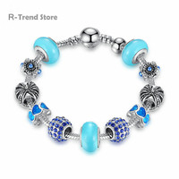 Crown Charms Bracelet Women Blue Crystal Bracelets Bangles For Female Silver Plated Diy Jewelry PA1900