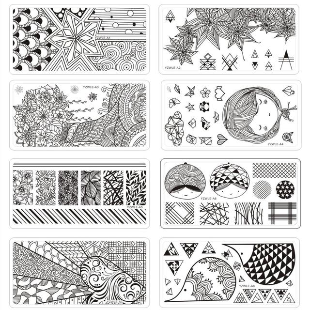 6*12cm Square Nail Stamping Plates Origami Series Lace Flower Leaves Design Nail Art Stamp Template Image Plate Stencil