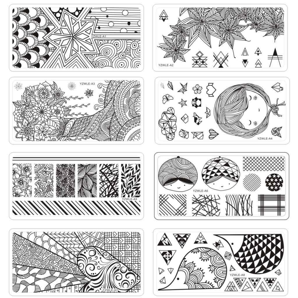 6*12cm carré ongles estampage plaques Origami série dentelle fleur feuilles conception Nail Art timbre modèle Image plaque pochoir