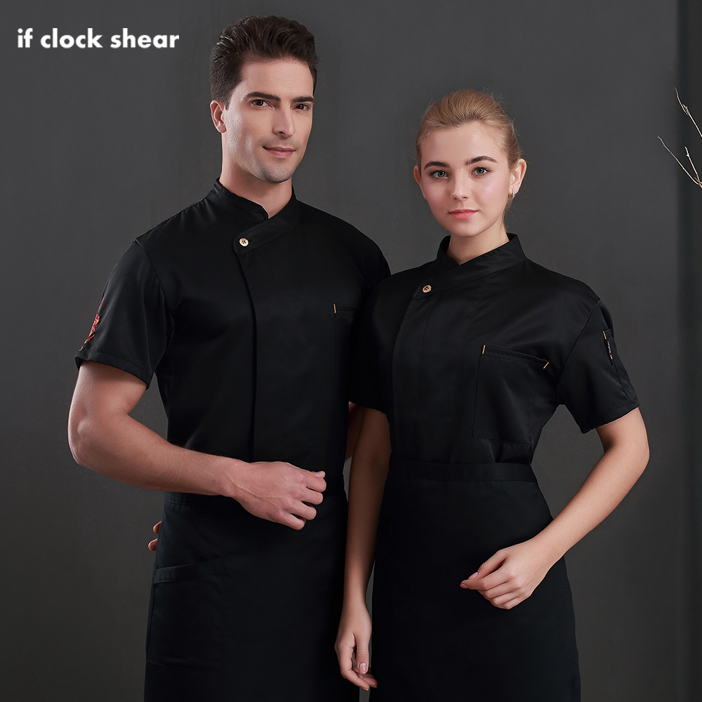 Unisex Oblique Collar Chef Uniforms Restaurant Hotel Kitchen Catering Cooking Jacket Catering Cooker Shirt Waitress Work Uniform