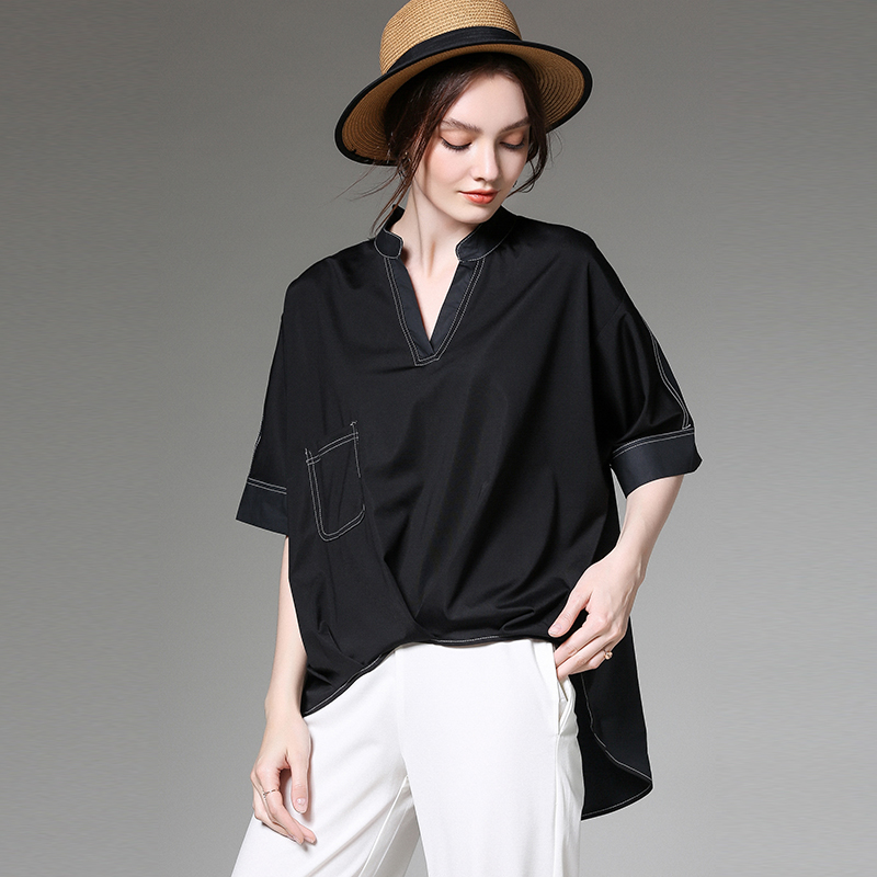 Haut en coton chemises de grande taille été 2019 nouvelle femme à manches courtes blanc hauts amples blouses décontracté haut tendance blouses et chemises dame