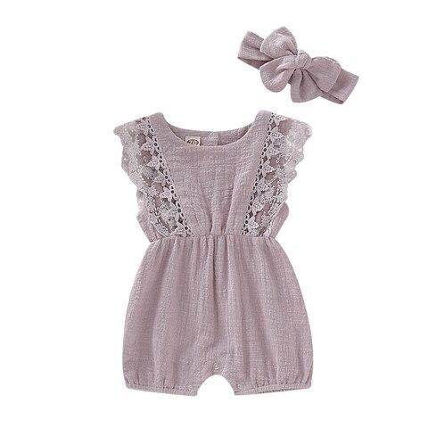meninas do bebe roupas criancas romper headband romper bodysuit verao 0 24 m conjunto de