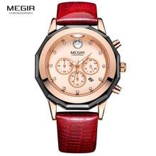 Megir Для женщин 24-часовой хронограф Красный кожаный ремешок Повседневные часы с люминесцентными стрелками Водонепроницаемый наручные часы для женщин Дата 2042