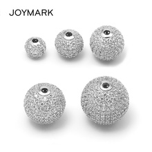 JOYMARK 6mm 8mm 10mm 12mm 14mm Round Micro Pave CZ Zircon 925 Sterling Silver Spacers Beads DIY Jewelry Findings SB-CZ605