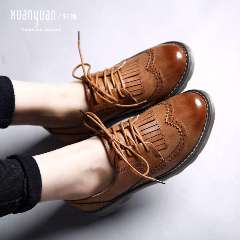 ФОТО Hot Sale Oxford Shoes For Women Genuine Leather Tassel Flats Shoes Women Leather Shoes Fashion Brand Dress Ladies Flat Shoes