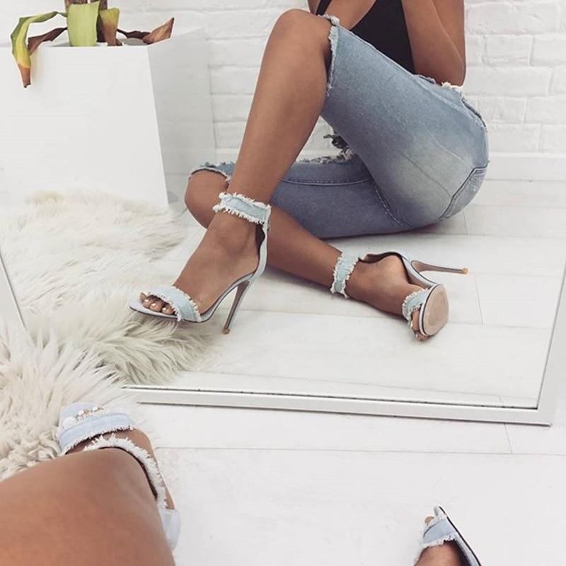 Talons Parti Bretelles Jeans Cheville Dentelle Croix Sandales D'été Blanc as Chaussures Haute Femmes Showed Color Robe Du Color As Hauts Femme q7txpF