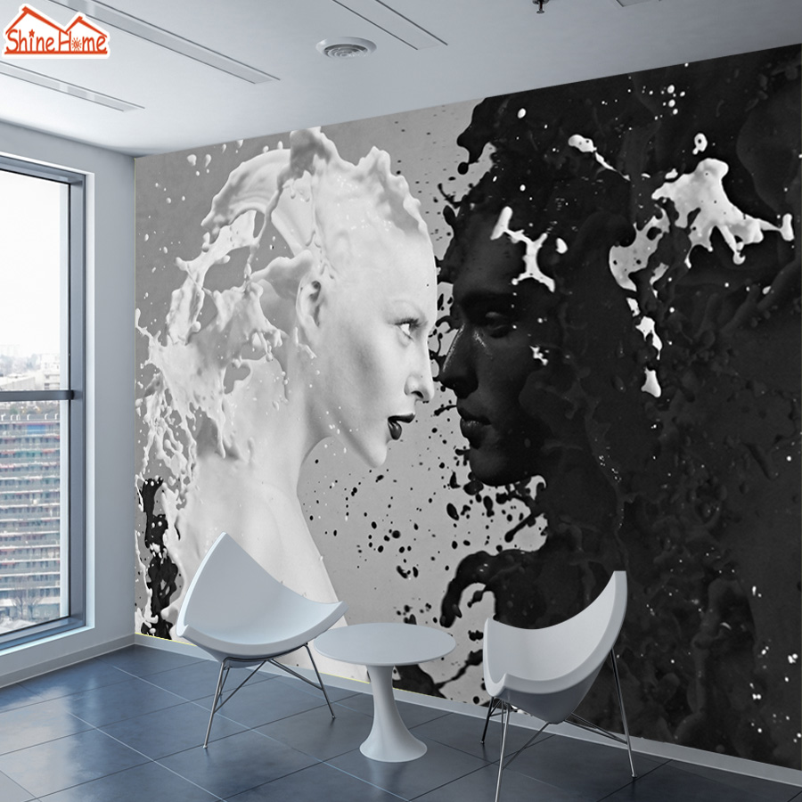 ShineHome-Abstract Custom Black White Milk Lover Photo Wallpapers for Wall 3 d Living Room Shop Bar Cafe Walls Murals Roll shinehome abstract brick black white polygons background wallpapers rolls 3 d wallpaper for livingroom walls 3d room paper roll