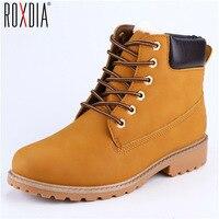 ROXDIA עור זמש פו גברים מגפי אביב סתיו וחורף אדם אתחול קרסול נעלי נעלי שלג של גברים RXM560 עבודה בתוספת גודל 39-46
