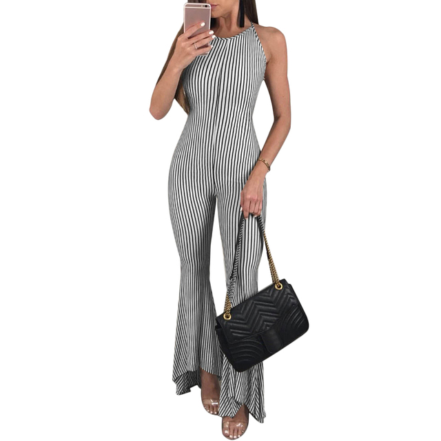 c8039d25ad4 2018 Sexy Summer Sleeveless Backless Lace Up Striped Womens Jumpsuit Rompers  Flare Pants Playsuits Ladies Overalls Body Mujer