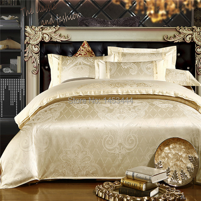 luxury white silver gold silk satin bedspreads embroidered bed in a bag jacquard comforter sets. Black Bedroom Furniture Sets. Home Design Ideas