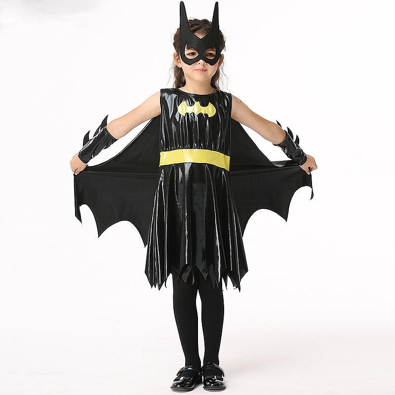 Children's Halloween Batman Cosplay Costume Girl Dress + Mask + Cloak + Hand Suit Play Princess Dress Party Carnival Costume