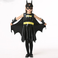 Children's Halloween Batman Cosplay Costume Girl Dress + Mask + Cloak + Hand Suit Play Princess Dress Party Carnival Costume