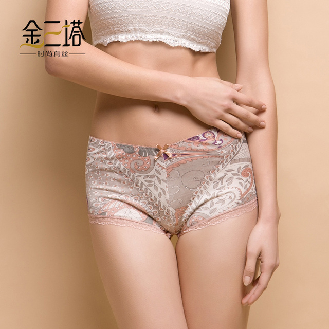 Mulberry silk panty silk mid waist boxer panties