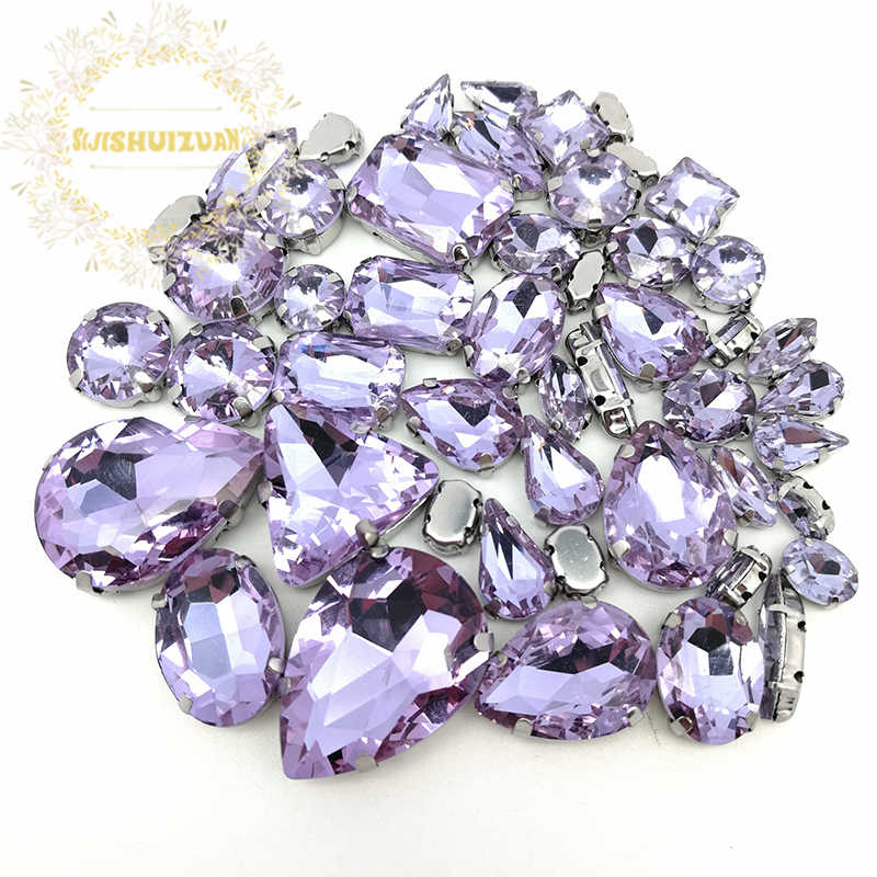 e4be12041c 52pcs 23sizes 10shapes MIX Crystal violet Size Crystal Glass Sew-on  Rhinestones Silver Bottom DIY Women's Dresses and Shoes