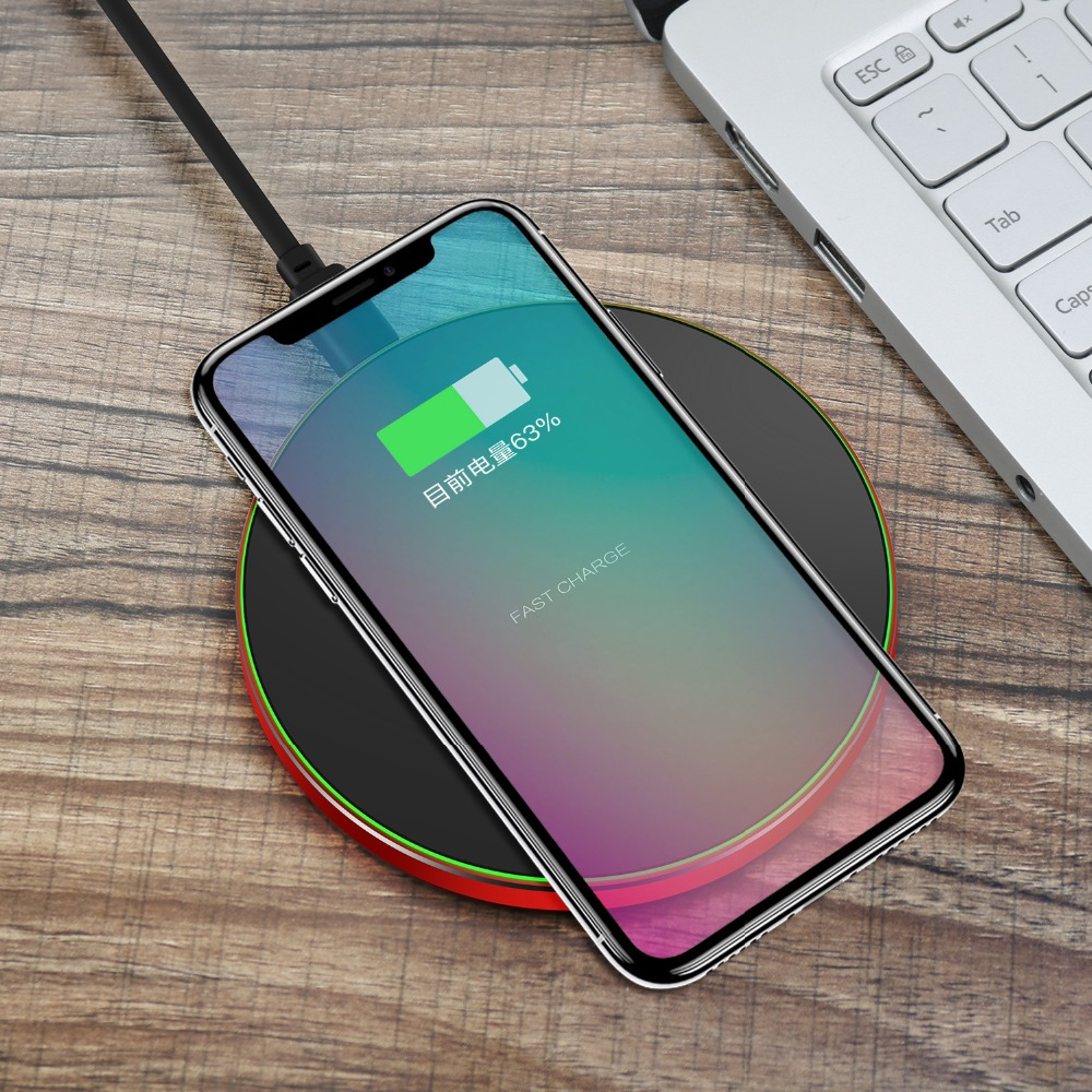 SIKAI Qi Standard Wireless Charger For iPhone X 8 Plus 10W Fast Wireless Charging Pad for Samsung Galaxy S8 Note 8 S7 Edge Thin