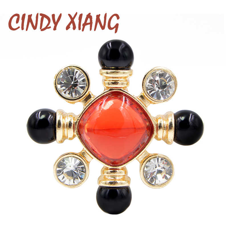CINDY XIANG Resin Bead Red and Black Color Cross Brooch Pin Baroque Style Jewelry Vintage Fashion Accessories Wedding Brooches