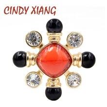 CINDY XIANG cuentas de resina color rojo y negro broche con Cruz Pin estilo barroco joyería Vintage accesorios de moda broches de boda