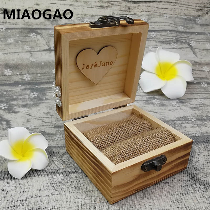Personalized Engage Brown Box with names//date Rustic Wedding Ring Bearer Box