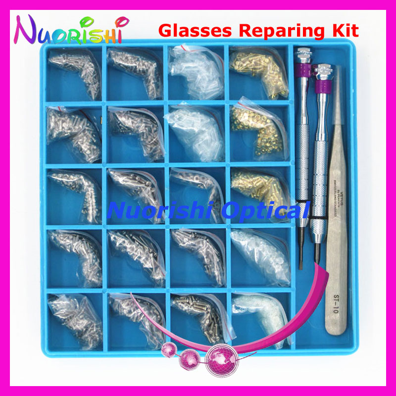 Eyeglasses Glasses Accessories Repairing Parts Case Kit Set Screwdriver Screw Nuts Washers Tweezers Bushing HBS21 Free Shippi