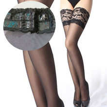 12bb89926c98d 1 Pair Sexy Lace Black Thigh High Stockings Hosiery Women Over Knee Socks  Female Anti-Slip White Lingerie Long Stockings 6Colors
