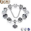 BAMOER 4 Colors 925 Silver Heart Charm Bracelet Silver with Safety Chain & Black Beads Bracelet Authentic Jewelry PA1435
